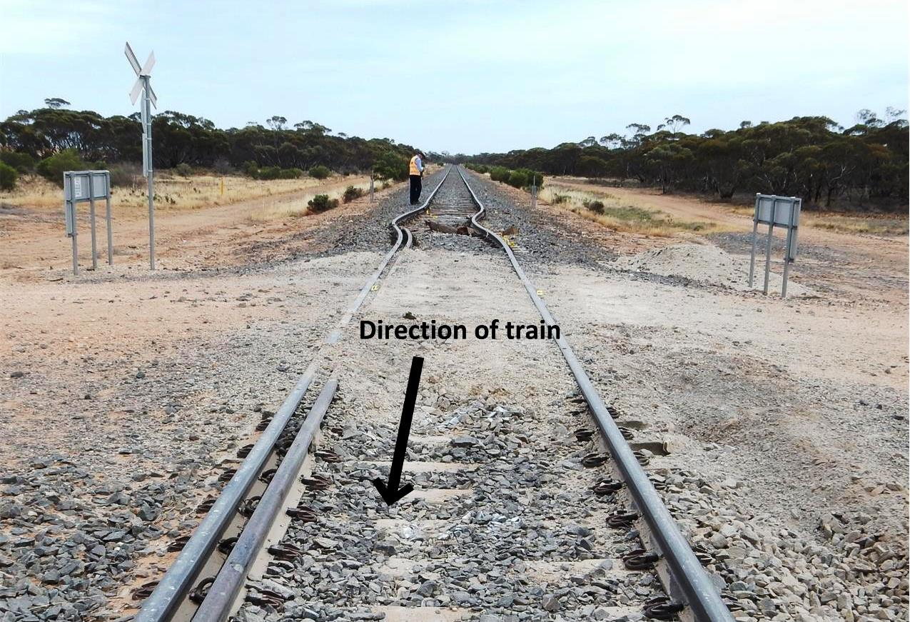 Figure 5: Janiels Road level crossing, upgraded to dual-gauge rail configuration supported on concrete sleepers and affixed using resilient fasteners.