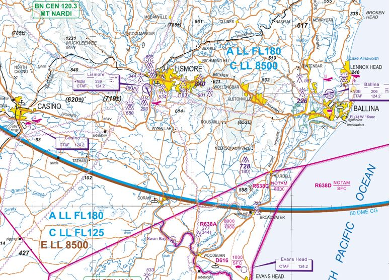 Figure 3: An extract of the Visual Terminal Chart of the Ballina area. The Casino and Lismore airports are depicted and share the CTAF of 124.2 MHz with Ballina airport. Also depicted in magenta are the restricted areas to the south Ballina, and the lower limit of the class C controlled airspace overhead those airports of 8,500 ft (in blue)