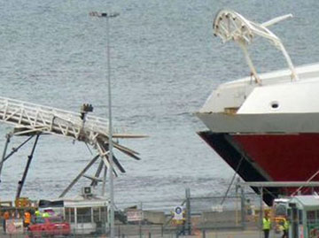 Photograph showing damaged upper vehicle ramp near Spirit of Tasmania II's bow. Source: Debbie Storz via www.abc.net.au/new