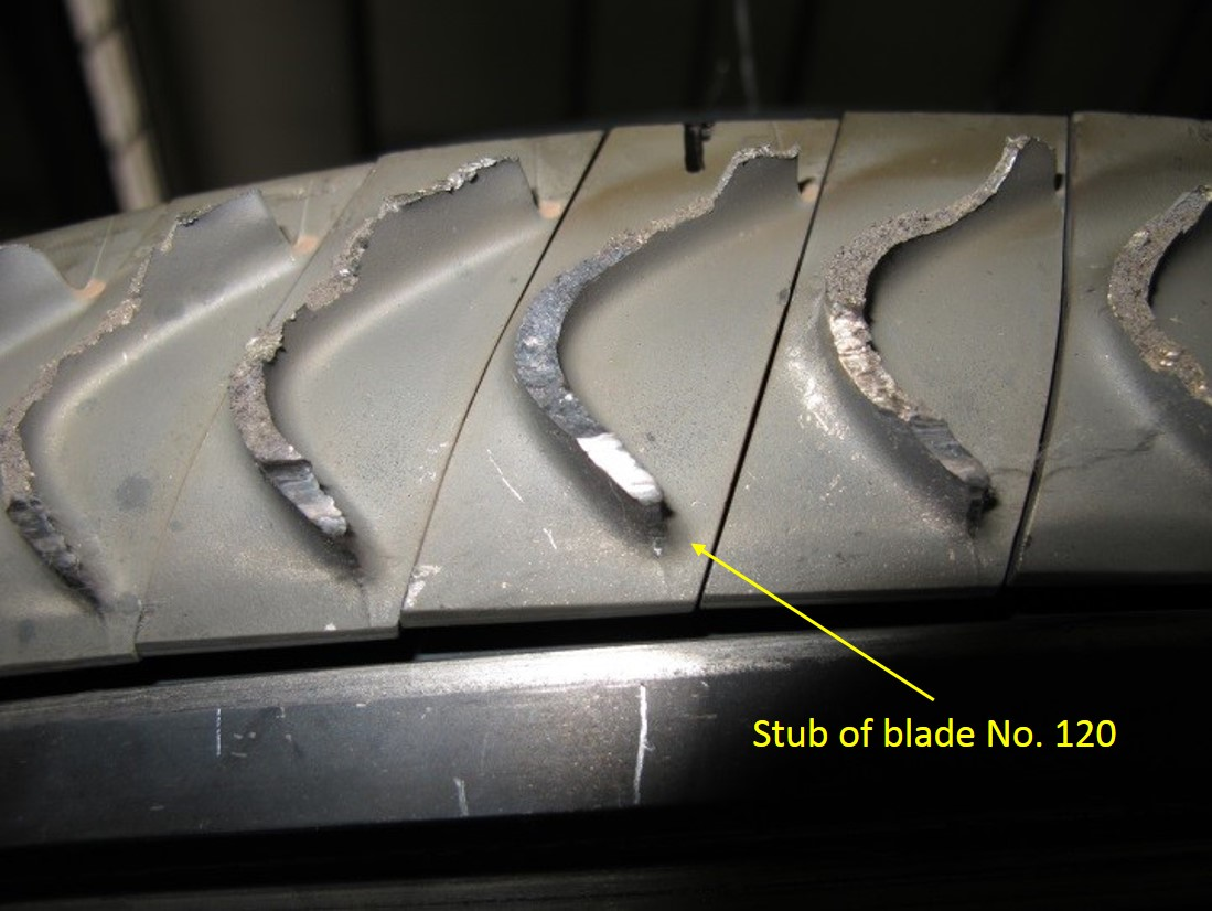 Figure 4: A number of the fractured stage four low‑pressure turbine blade stubs, with the stub of blade 120 highlighted