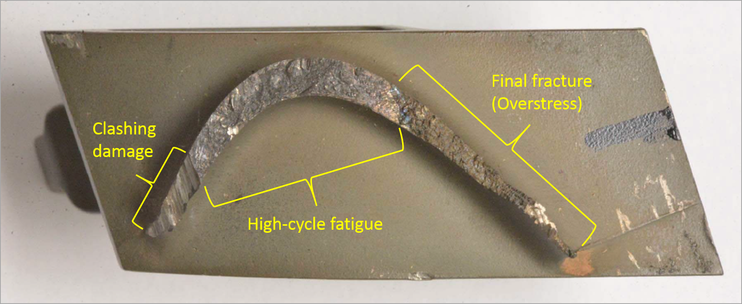 Figure 6: Blade 120 fracture surface, showing the region of high-cycle fatigue, the clashing damage and the final overstress fracture