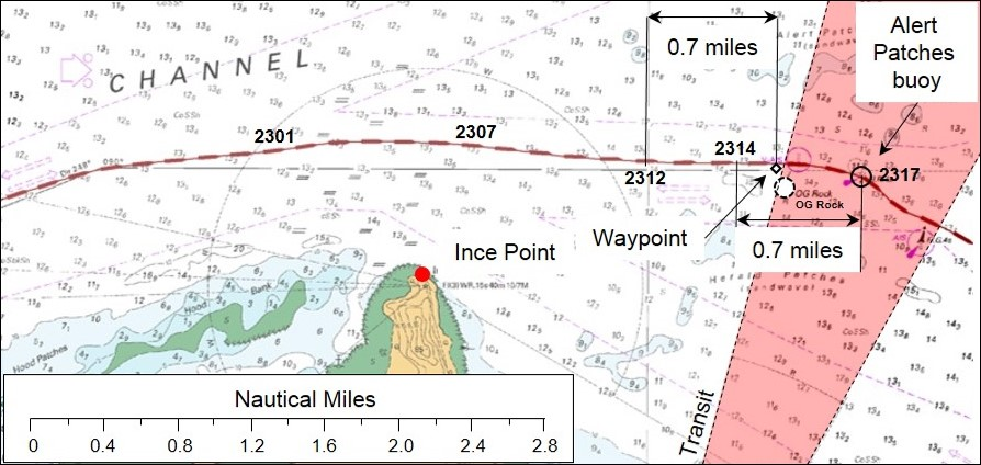 Figure 10 – Navigational chart Aus 293 showing Navios Northern Star's track to OG Rock