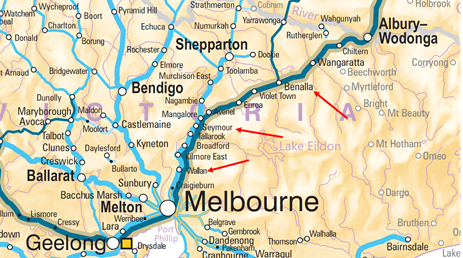 Figure 1: Location map – Wallan, Seymour, Benalla Victoria