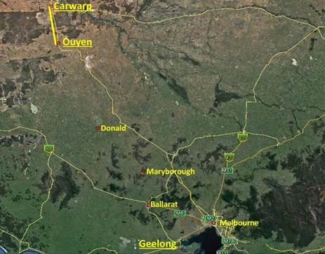 Figure 1: The location of the derailment at Ouyen between Carwarp and Geelong