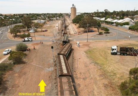 Figure 2: View of derailed train at the William Street level crossing.