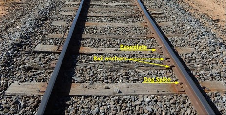 Figure 6: Undisturbed track on the Carwap side of the derailment site, showing intermittent higher quality sleepers and typical ballast condition. Rail was affixed with dog-spikes with intermittent use of box anchoring to reduce rail creep.