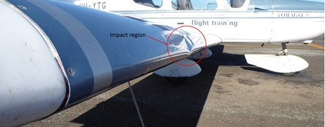 Figure 1: Leading edge with impact area circled