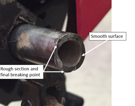 Figure 4: Fractured tail rotor shaft