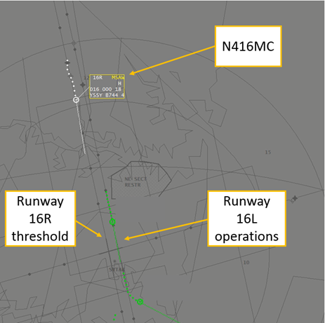 Figure 1: Minimum safe altitude warning for N416MC