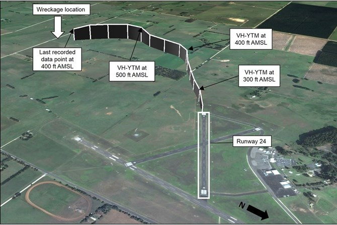 Figure 2: Flight path of VH-YTM after departing runway 24 at Mount Gambier Airport, where each vertical line represents 5 seconds, and an indication of the wreckage location