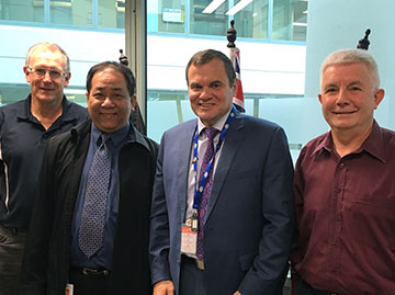 Transport Safety Investigator Ken Kell, with ndonesian National Transportation Safety Committee (NTSC) flight recorder specialist Andreas Hananto, ATSB Chief Commissioner Greg Hoos and ATSB Manager International Richard Batt