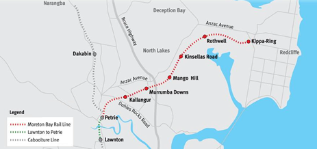 Figure 1: Moreton Bay Region, showing rail lines from Brisbane through Lawnton, the Caboolture line continuing after Dakabin towards Narangba, and the new Moreton Bay rail corridor from Petrie to Kippa-Ring (depicted in red).