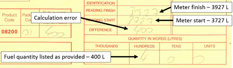 Figure 1: Extract of fuel delivery receipt