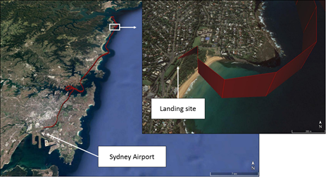 Figure 1: VH-ONE flight path in red (left) and landing site (right)