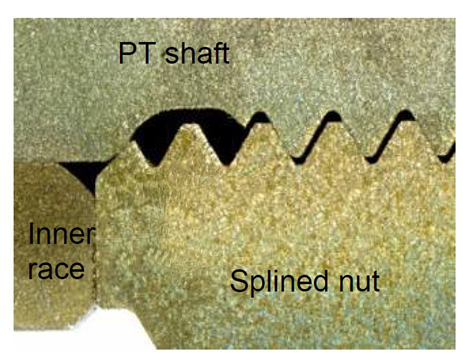 Figure 9: Cross-section of the rear splined nut contacting the rear bearing inner race