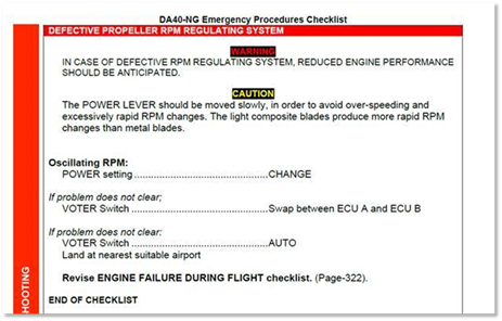 Figure 3: Operator's procedure for a defective propeller RPM regulating system