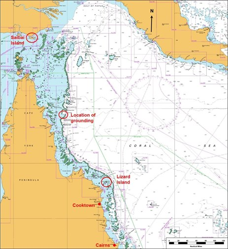 Figure 1: Section of navigational chart Aus 4620 showing location of grounding. Source: Australian Hydrographic Service, annotated by the ATSB