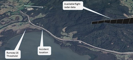 Figure 1: Flight path approaching The Lakes. Radar data was lost below 900 ft altitude.