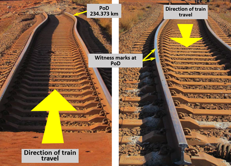 Figure 7: Witness marks at PoD (234.373 km) shown by line of arrows on railhead. Source: Rio Tinto, annotation by ATSB