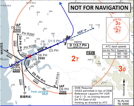 Figure B1: First runway 06 VOR approach with aircraft track (blue) and approximate location of go-around (red cross)