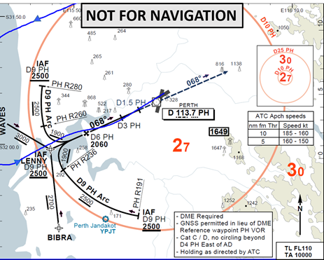 Figure C1: Second runway 06 VOR approach with aircraft track (blue)