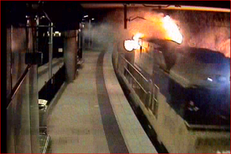 Figure 1: Fire in lead locomotive NR8 passing through Cardiff Station