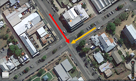 Figure 3: The level crossing intersection (the red arrow indicates the train movement and the yellow arrow indicates the movement of the road vehicle)