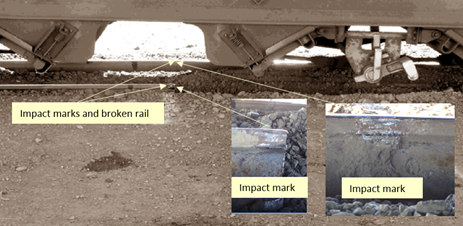 Figure 2: Level crossing approach showing damage to rails. Source: ATSB