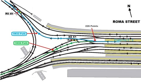 Figure 2: Western end Roma Street Station layout, Brisbane, Queensland