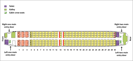 Figure 2: Boeing 737-800, VH-VZZ, aircraft seating map