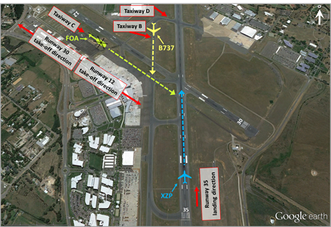 Figure 2: Canberra Airport and projected routes of the aircraft involved in the incident. Source: Google earth, annotated by the ATSB
