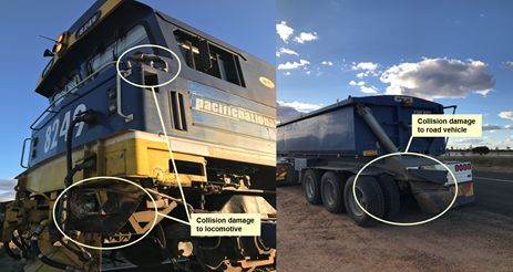 Figure 2: Collision damage to the locomotive and the last trailer of the road-train. Source: NSW Police, annotated by ATSB