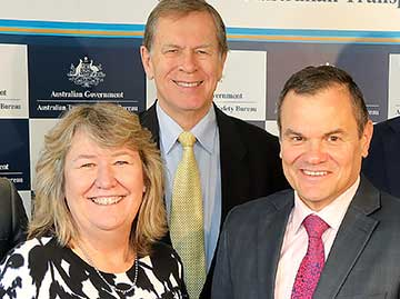 Ms Carolyn Walsh and Mr Chris Manning with the ATSB's Chief Commissioner Greg Hood