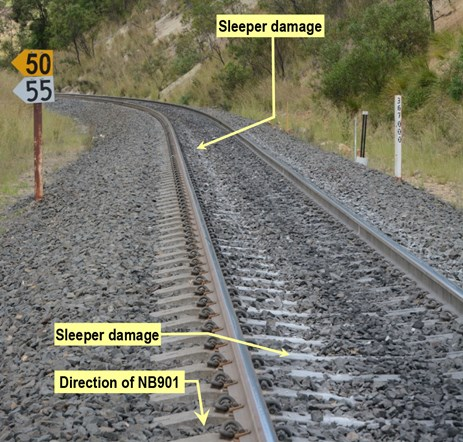 Figure 5: Sleeper damage caused by dragging bogie. Source: ATSB