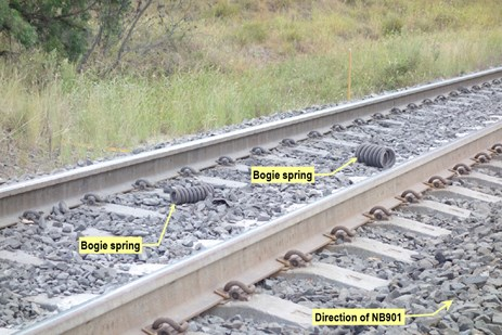 Figure 7: Bogie springs on track. Source: ATSB