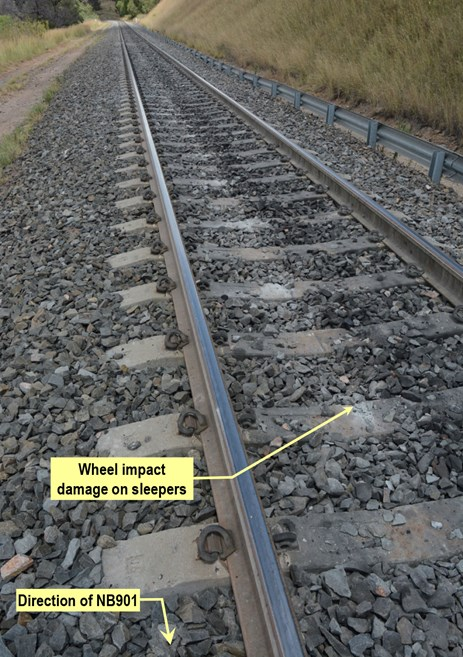 Figure 8: Wheel impact damage on track. Source: ATSB