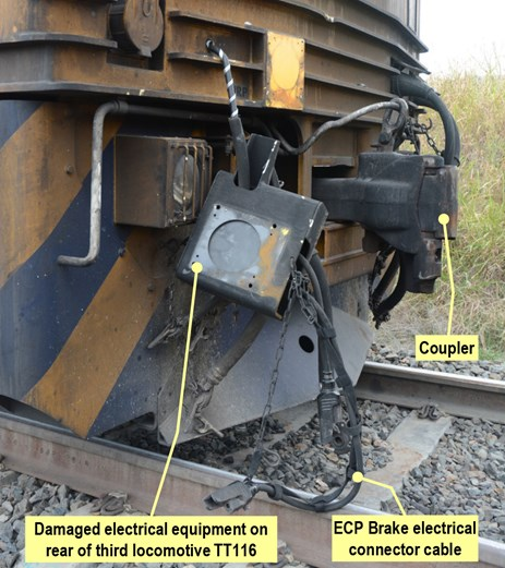 Figure 9: Damaged electrical equipment on rear locomotive TT116. Source: ATSB