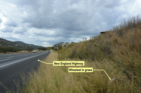 Figure 10: Position of wheelset near New England Highway. Source: ATSB