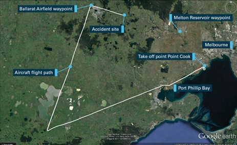 Figure 1: Map showing the aircraft's flight path, take-off point and accident site. ZEW was between the Ballarat airfield to Melton Reservoir waypoints at the time of the accident. Source: Google Earth, modified by the ATSB