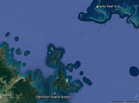 Figure 1: Proximity of Hamilton Island Airport to the Hardy Reef HLS. Source: Google earth, modified by the ATSB
