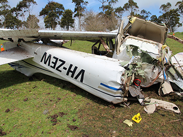 Accident site of Cessna 172S, VH-ZEW, near Millbrook, Victoria