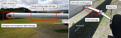 Figure 3: Damage to VH-WZX. The figure shows the damage to the right wing (left) and left main undercarriage (right). Source: Operator, annotated by ATSB