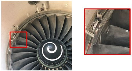 Figure 1: Damage to Rolls Royce Trent 700 engine fan blades. Source: Rolls Royce