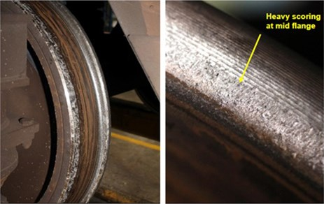 Figure 8: Views of the leading right-hand wheel of car 1305T showing observed wear.