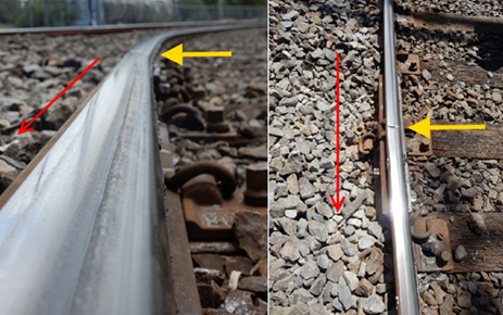 Figure 19: The outside rail and the lateral angular discontinuity at the mechanical joint. The photograph is annotated to show the direction of train travel (yellow arrow) and the flange track along and across the rail head (red line). Note that the point of flange-climb commenced immediately after the rail joint.