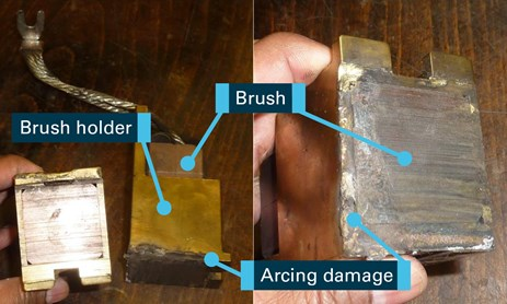 Figure 7: Arcing damage to brush holders. Source: ABB Industry Oy with annotations by Chief Investigator, Transport Safety