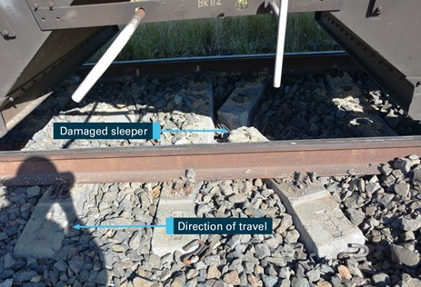 Figure 9A: Damaged concrete sleepers. Source: ATSB