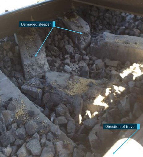Figure 9B: Other damaged concrete sleepers. Source: ATSB