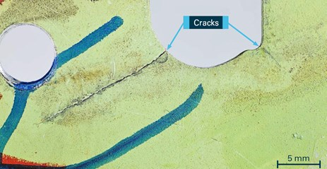 Figure 5: Close-up of the cracking in the cutaway region shown at Figure 4. Source: Boeing, annotated by the ATSB
