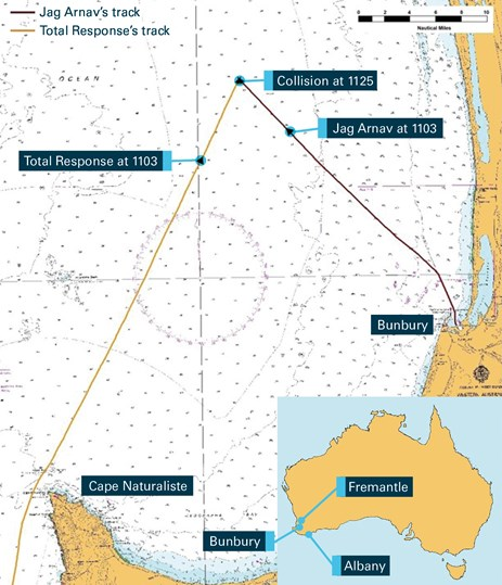 Figure 3: Section of navigational chart Aus 334 showing the tracks of both vessels. Source: Australian Hydrographic Service, annotated by the ATSB using electronically recorded data